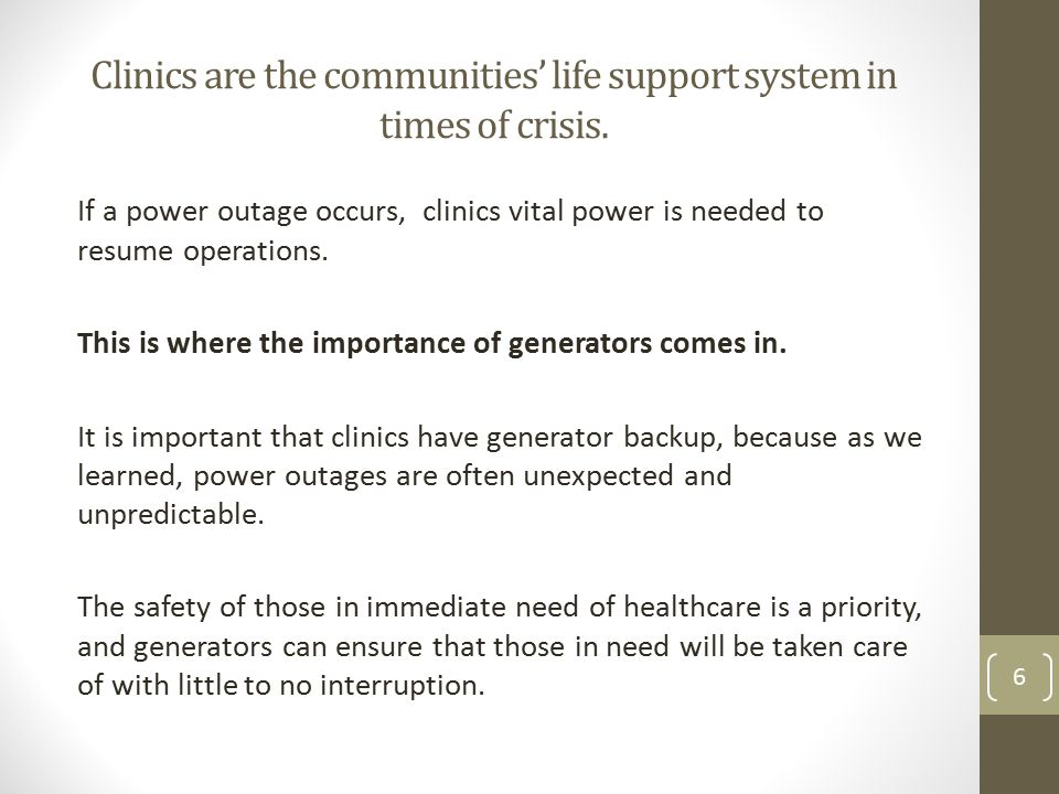 Clinics are the communities' life support system in times of crisis.