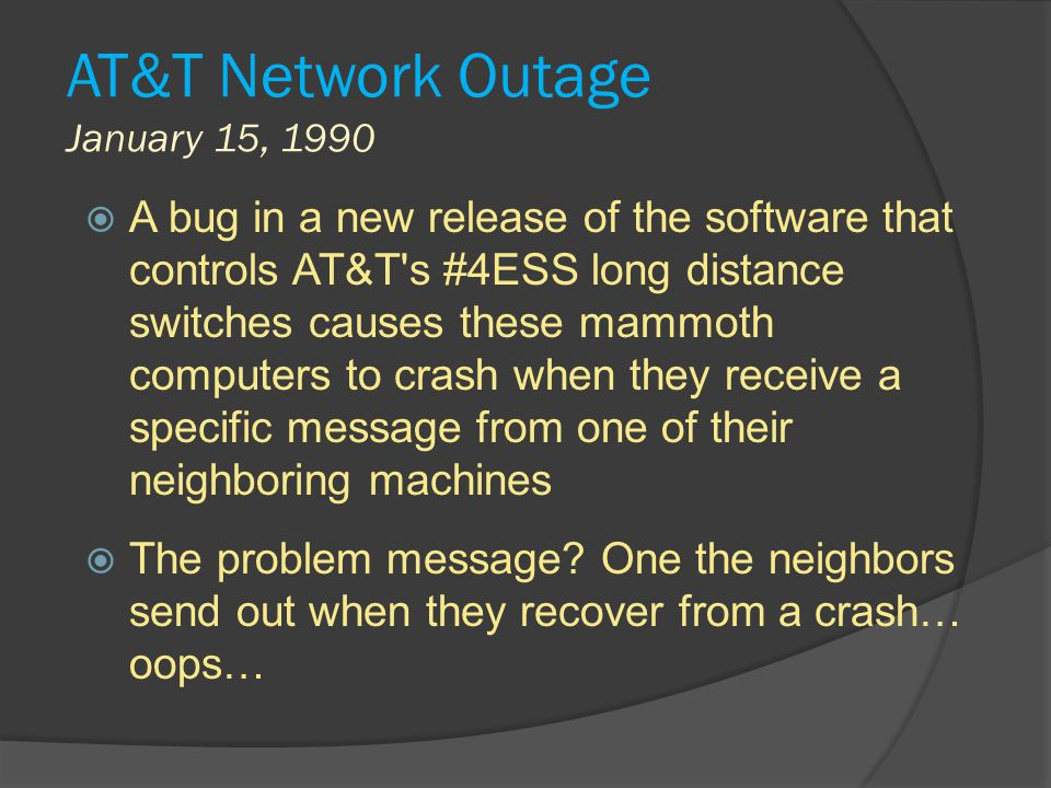 AT&T Network Outage January 15, 1990