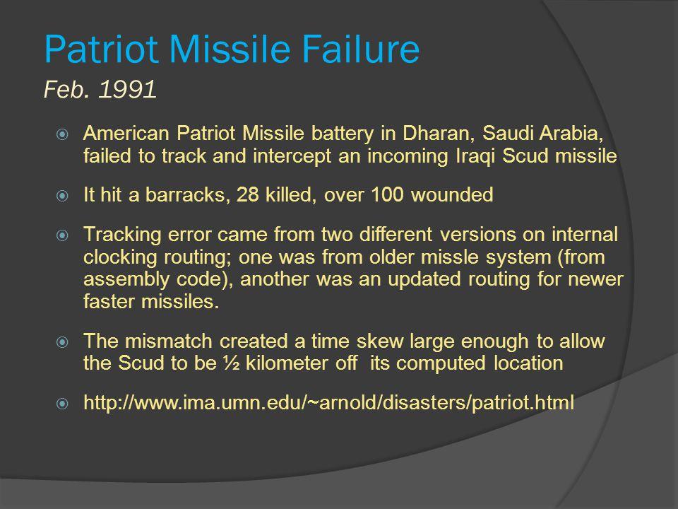 Patriot Missile Failure Feb. 1991