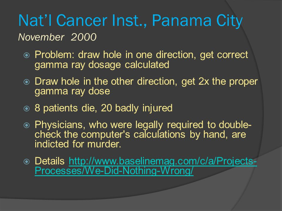 Nat'l Cancer Inst., Panama City November 2000