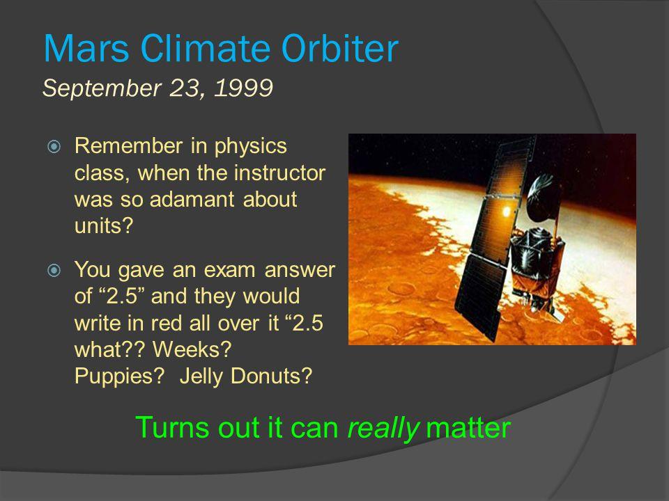 Mars Climate Orbiter September 23, 1999