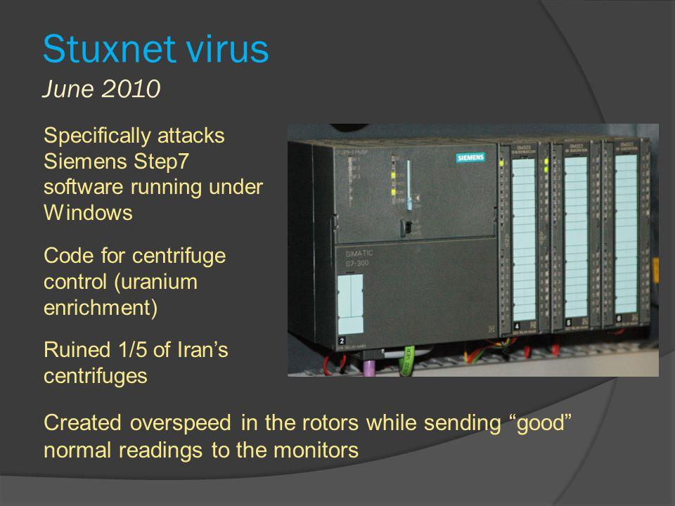 Stuxnet virus June 2010