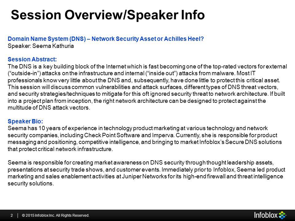 Session Overview/Speaker Info