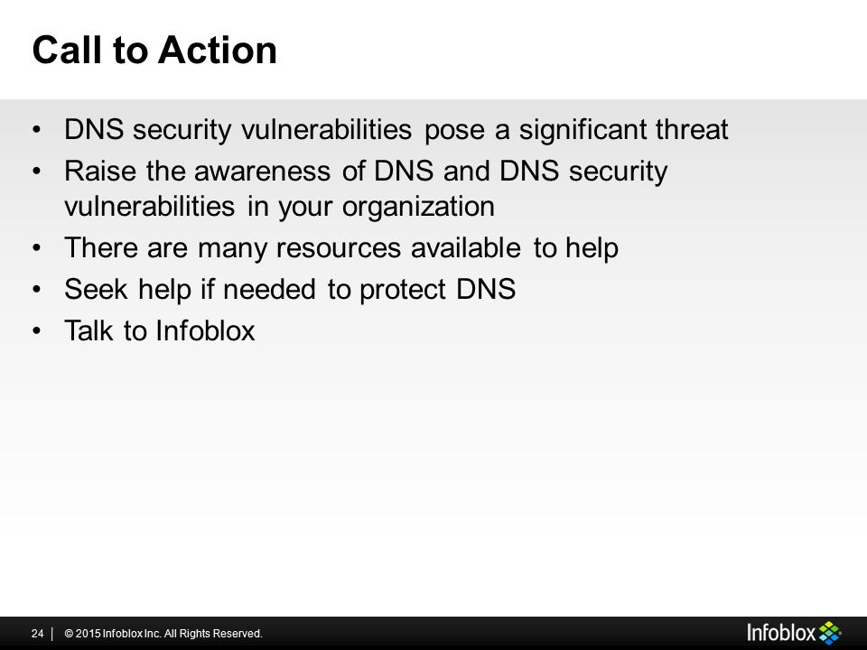 Call to Action DNS security vulnerabilities pose a significant threat