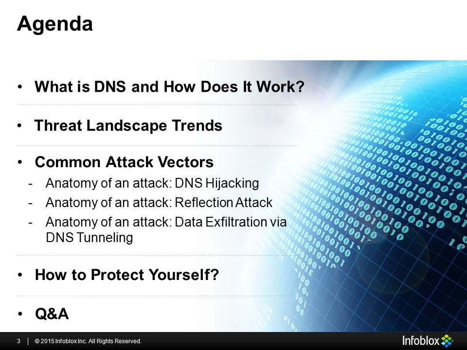 Agenda What is DNS and How Does It Work Threat Landscape Trends