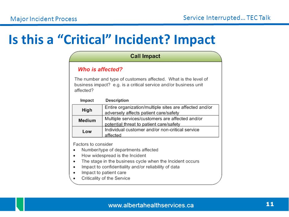 Is this a Critical Incident Impact