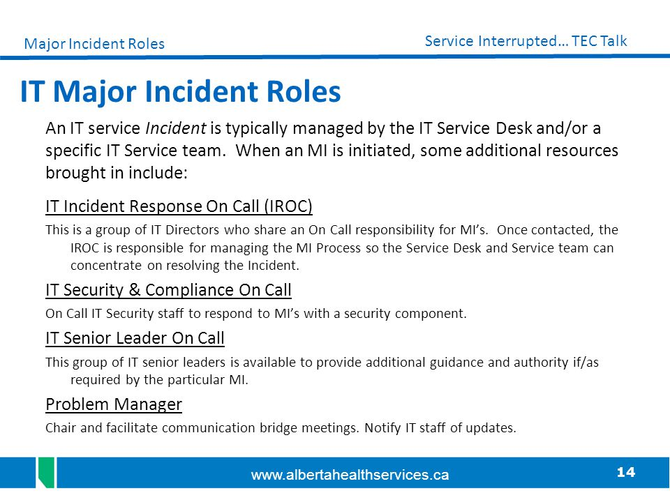 IT Major Incident Roles