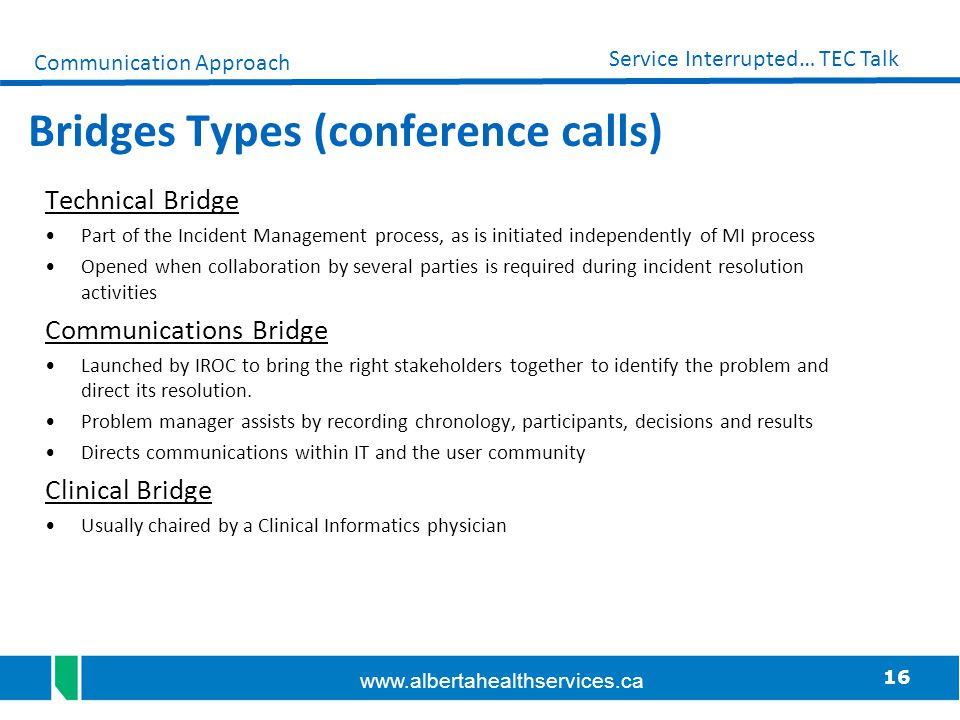 Bridges Types (conference calls)