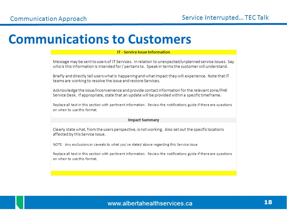 Communications to Customers