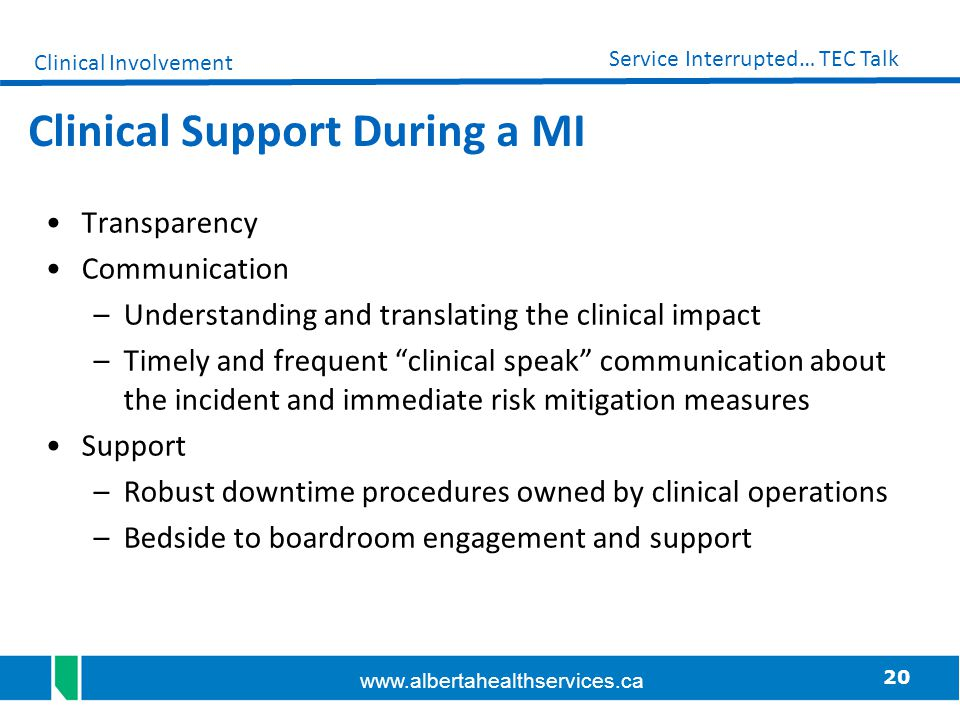 Clinical Support During a MI