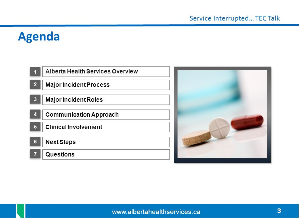 Agenda Alberta Health Services Overview Major Incident Process