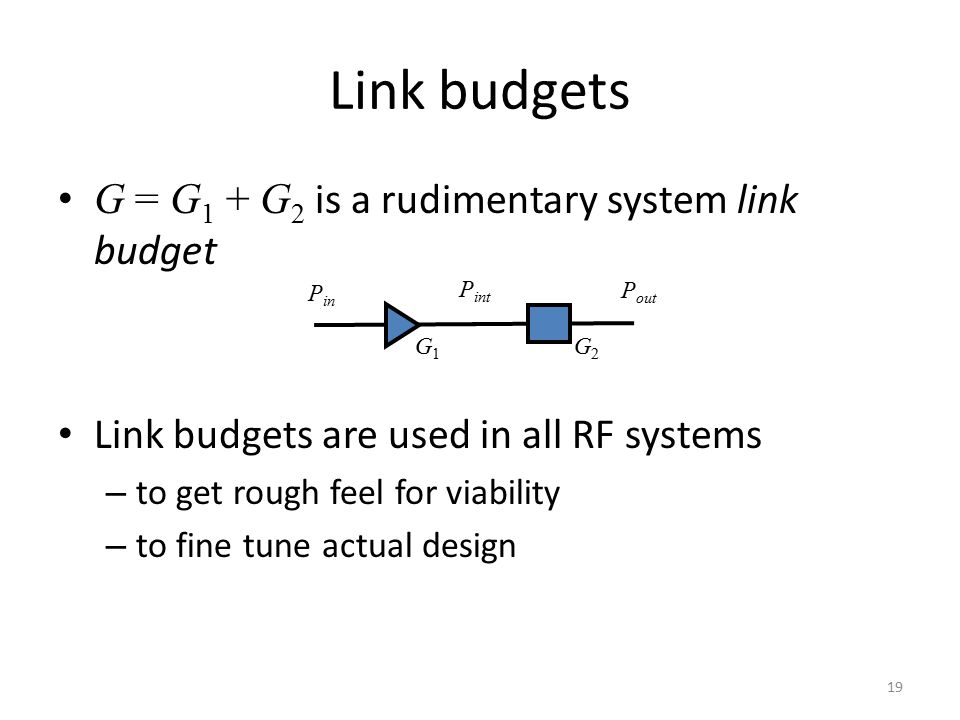 Link budgets G = G1 + G2 is a rudimentary system link budget