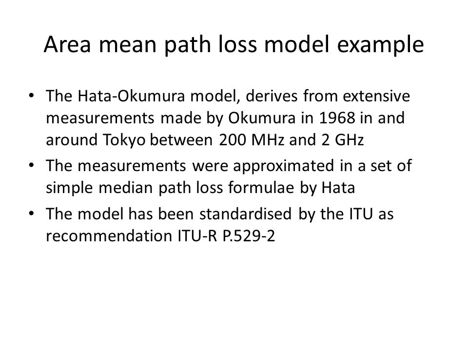 Area mean path loss model example