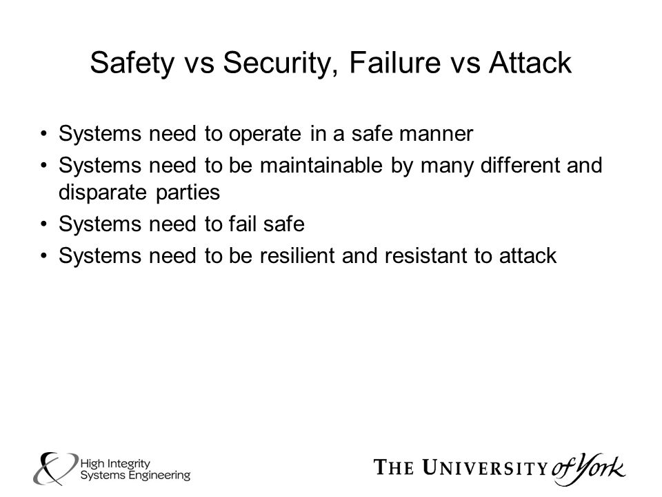 Safety vs Security, Failure vs Attack