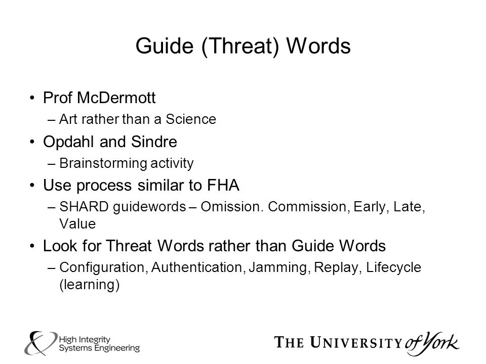 Guide (Threat) Words Prof McDermott Opdahl and Sindre
