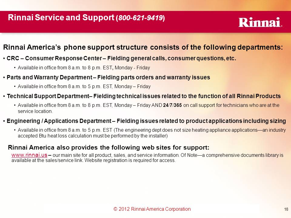 Rinnai Service and Support (800-621-9419)
