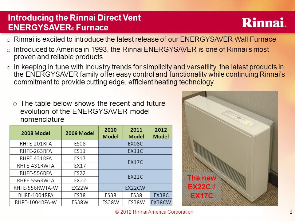 Introducing the Rinnai Direct Vent ENERGYSAVER® Furnace