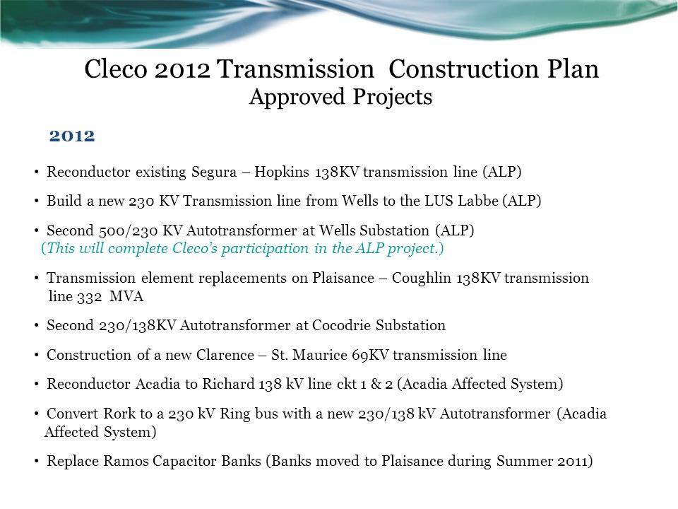 Cleco 2012 Transmission Construction Plan