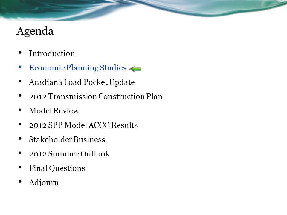 Agenda Introduction Economic Planning Studies
