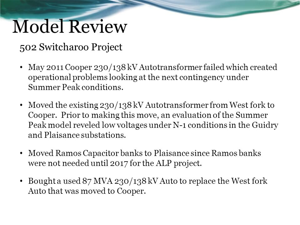 Model Review 502 Switcharoo Project