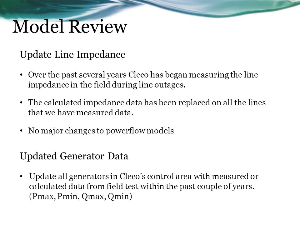 Model Review Update Line Impedance Updated Generator Data