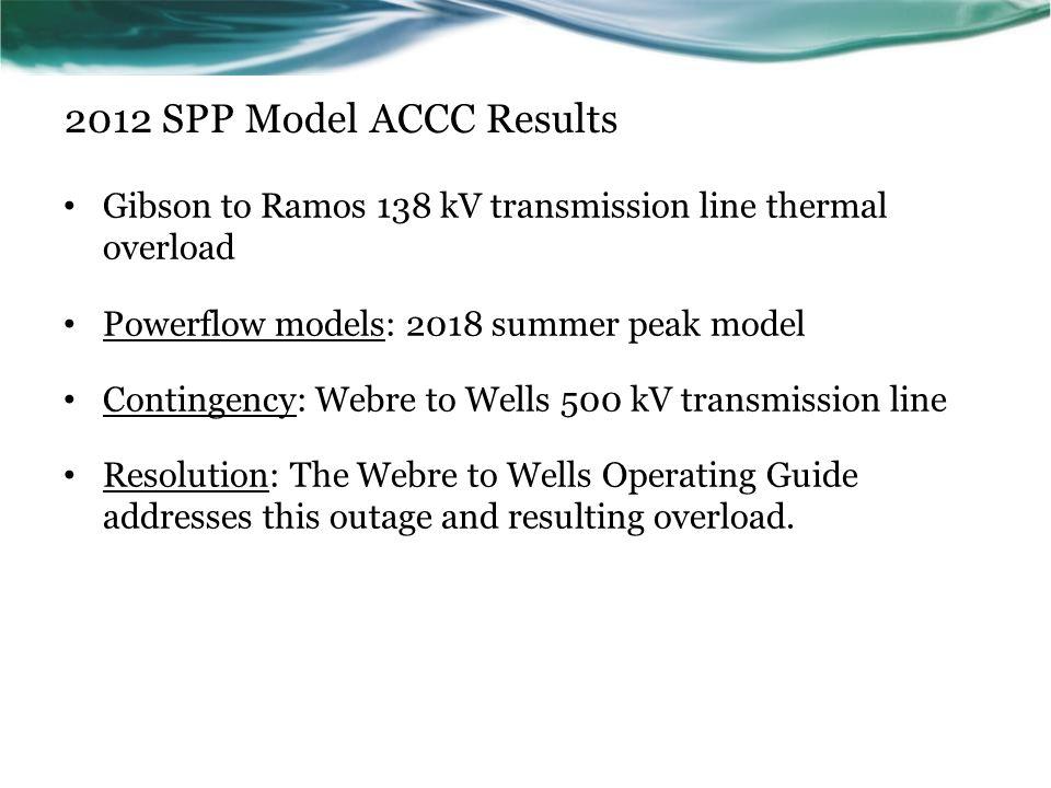 2012 SPP Model ACCC Results Gibson to Ramos 138 kV transmission line thermal overload. Powerflow models: 2018 summer peak model.