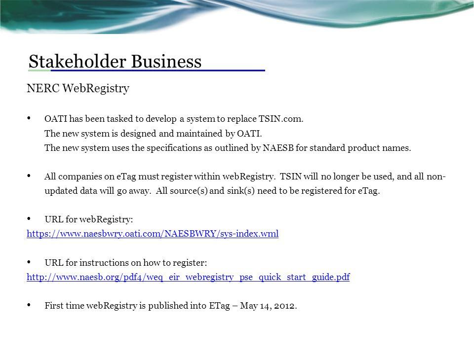 Stakeholder Business NERC WebRegistry