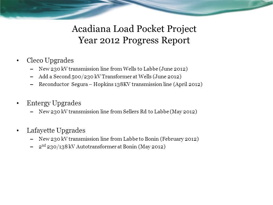 Acadiana Load Pocket Project Year 2012 Progress Report