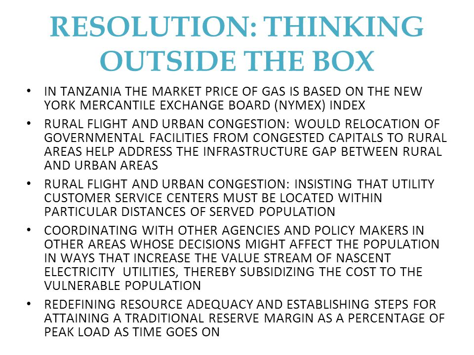 RESOLUTION: THINKING OUTSIDE THE BOX