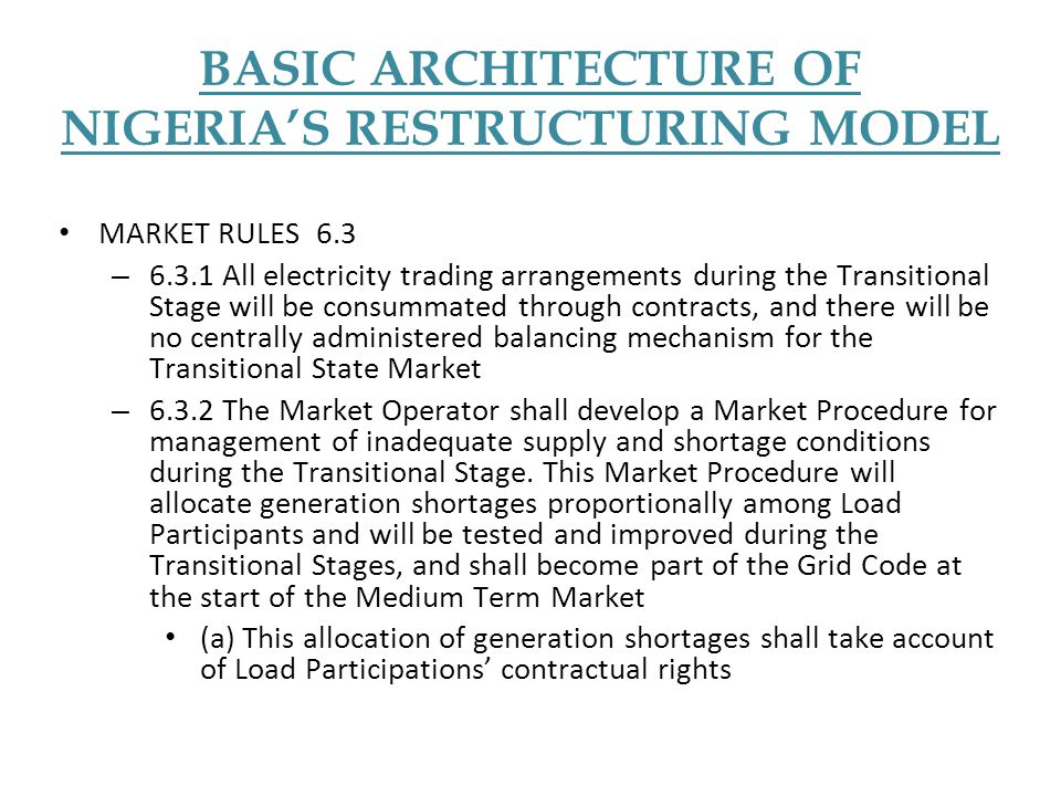 BASIC ARCHITECTURE OF NIGERIA'S RESTRUCTURING MODEL