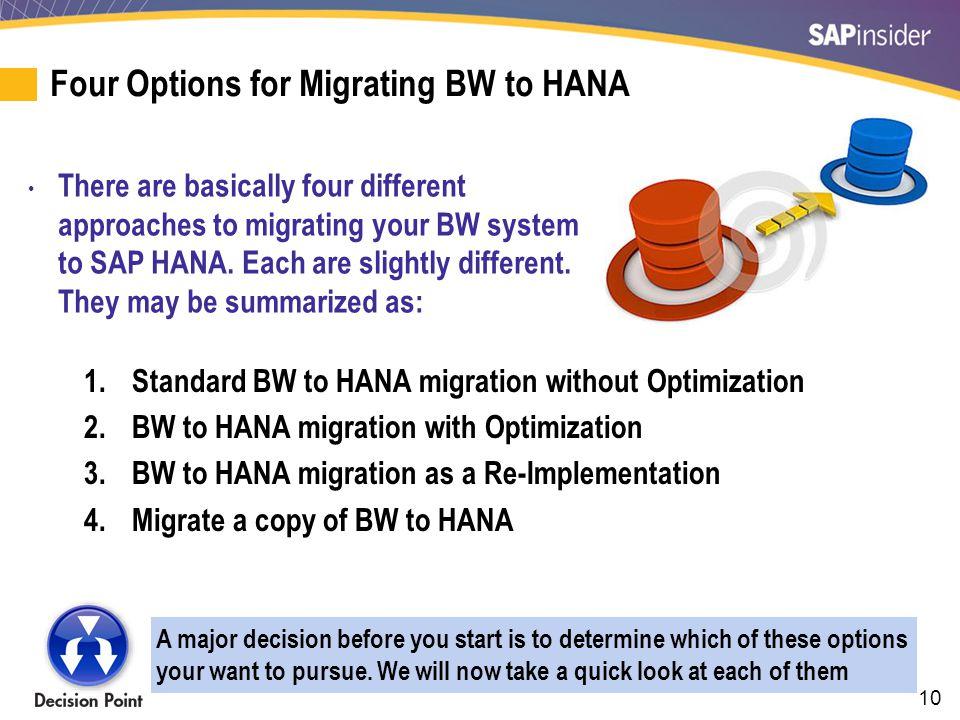 1. Standard BW to HANA migration without Optimization
