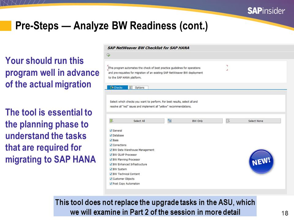 Pre-Steps — Analyze BW Readiness (cont.)
