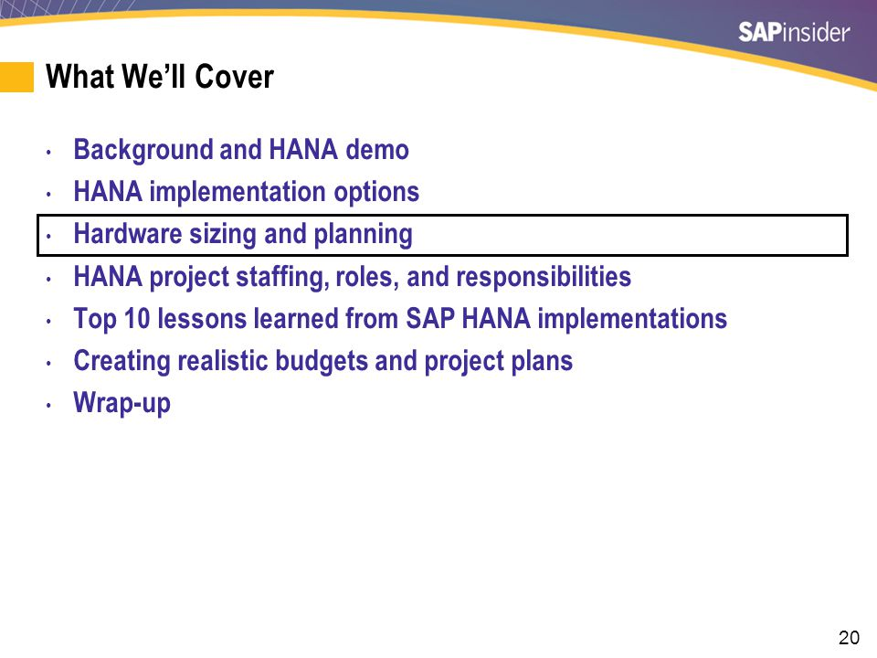 Some Hardware Options for HANA