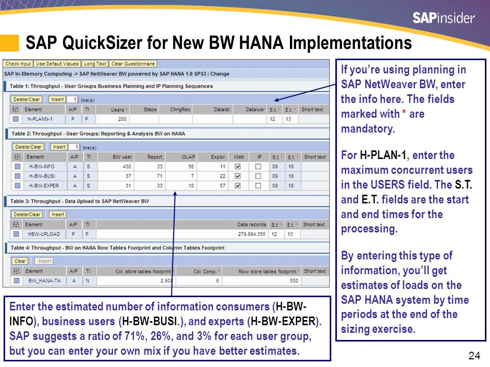 SAP QuickSizer for New BW HANA Implementations (cont.)
