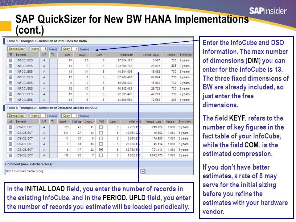 SAP QuickSizer for HANA — Output
