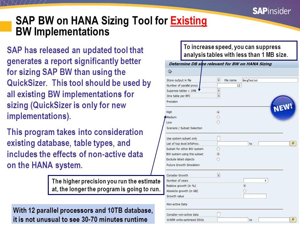 SAP BW on HANA Automated Sizing Tool