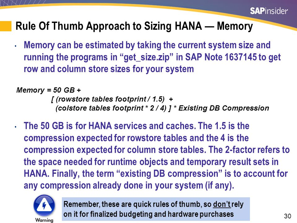 Rule of Thumb Approach to Sizing HANA — Disk