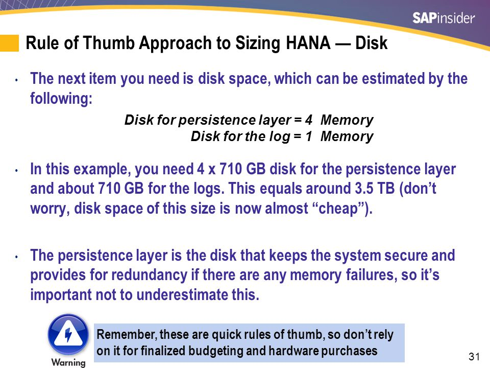 Rule-Of-Thumb Approach to Sizing HANA — CPU