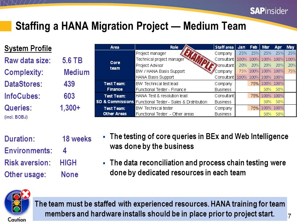 Staffing a HANA Migration Project — Very Large Team