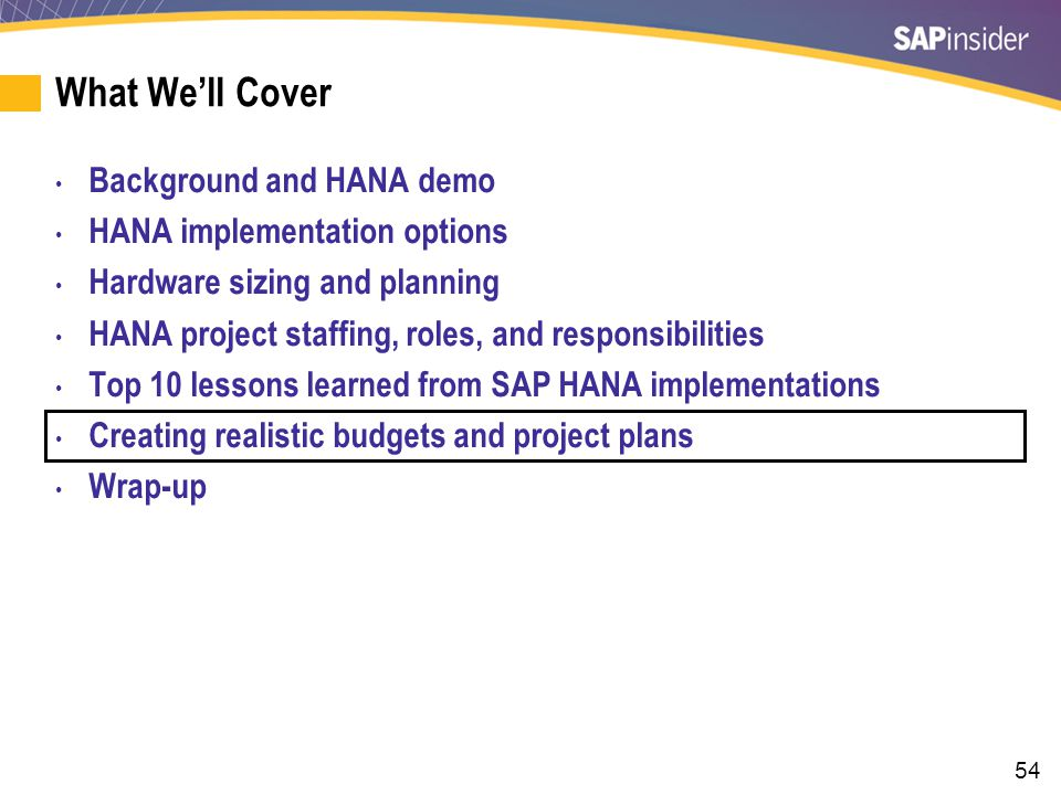 Budgeting a HANA Migration Project - Systems