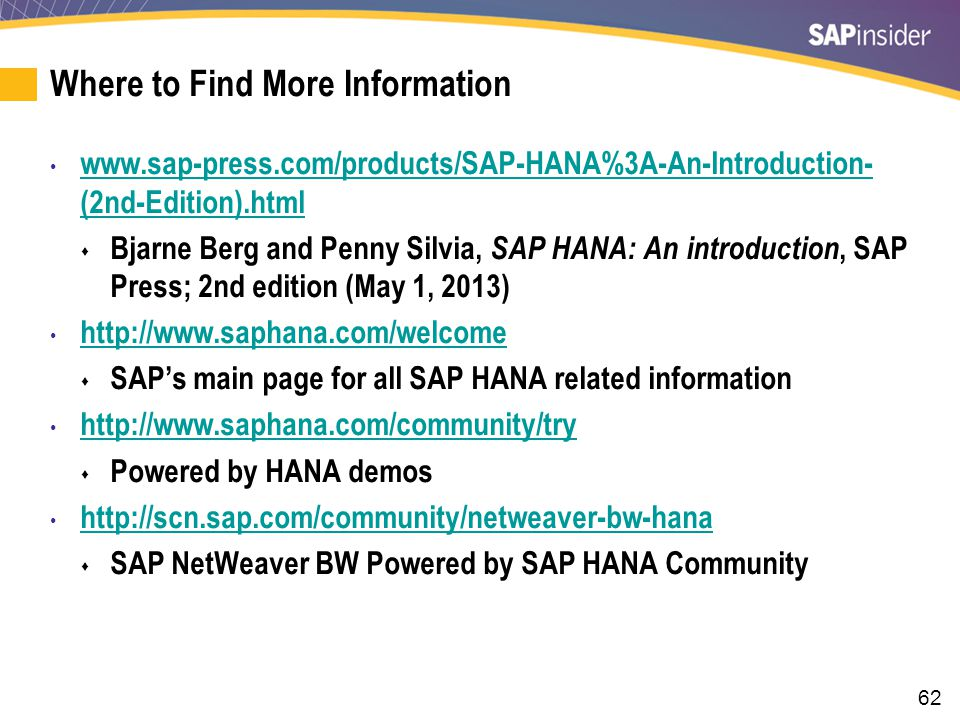 7 Key Points to Take Home There are programs to do pre-readiness checks for an ERP and BW system for migration to HANA.