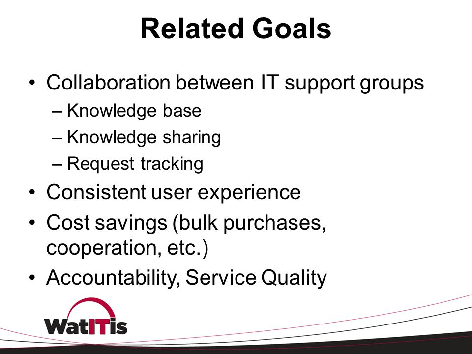 Related Goals Collaboration between IT support groups