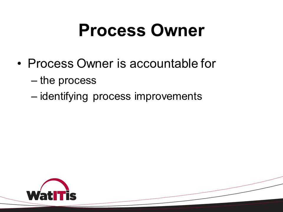 Process Owner Process Owner is accountable for the process