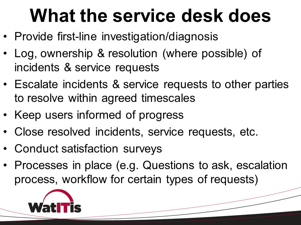 What the service desk does