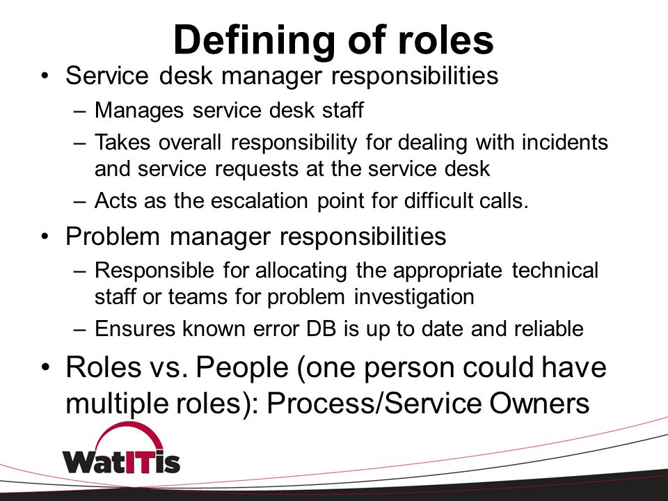 Defining of roles Service desk manager responsibilities. Manages service desk staff.