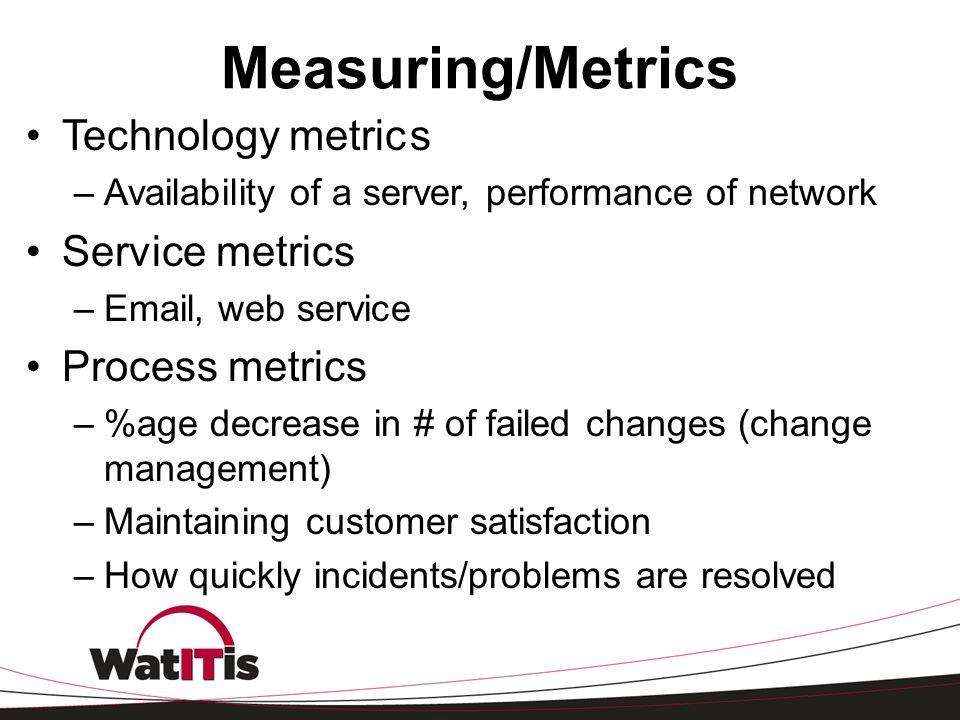 Measuring/Metrics Technology metric s Service metrics Process metrics