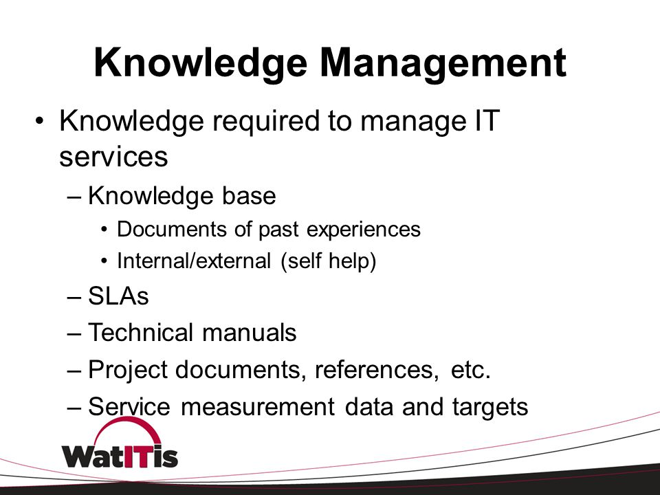 Knowledge Management Knowledge required to manage IT services