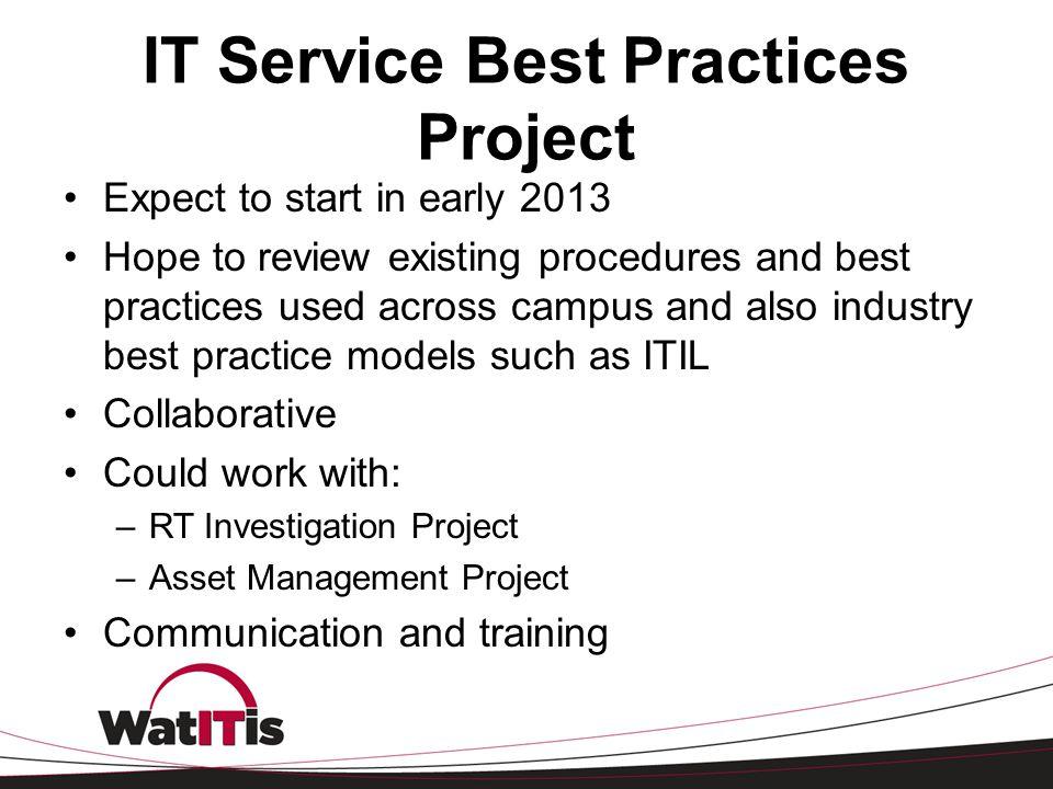IT Service Best Practices Project