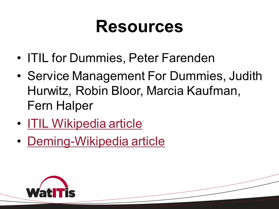 Resources ITIL for Dummies, Peter Farenden
