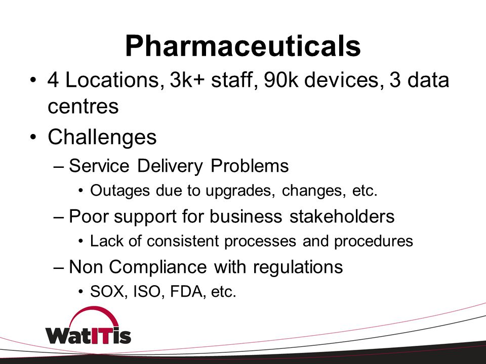 Pharmaceuticals 4 Locations, 3k+ staff, 90k devices, 3 data centres